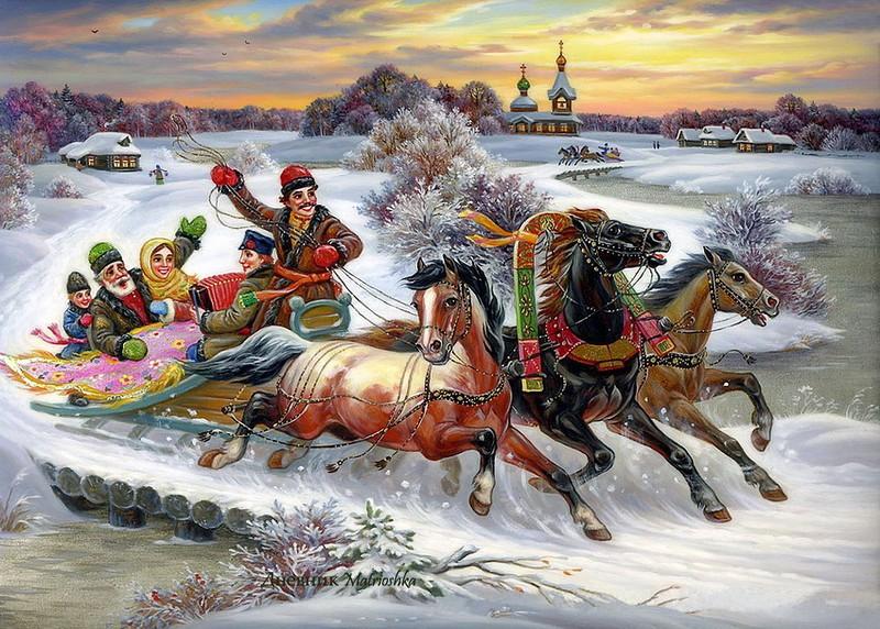 Катание на русской тройке картинки