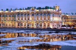 The Hermitage`s day in St. Petersburg.
